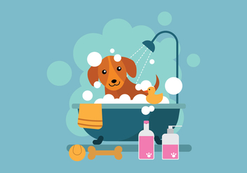 Free Cartoon Dog Taking a Bath in Bathtub Illustration - бесплатный vector #399945