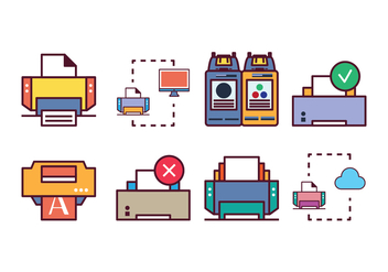Free Printer Icon Set - vector gratuit #400375