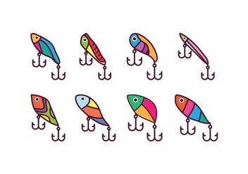 Free Fishing Lure Icon Set - Free vector #400395