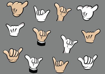 Shaka Cartoon Hand Vectors - Kostenloses vector #400735
