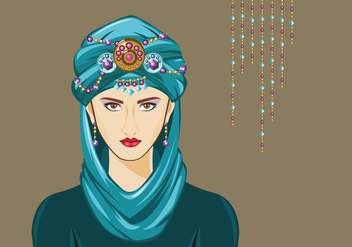 Turquoise Turban Woman Vector - бесплатный vector #400915