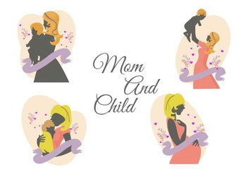 Free Mom and Child Vector - Free vector #401135