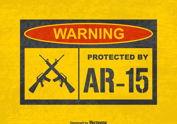 Free Vector Grunge Warning Protected by AR15 Sign - Free vector #401415