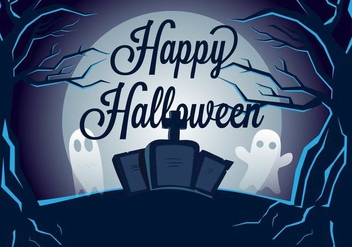 Spooky Graveyard Vector Illustration - бесплатный vector #401665