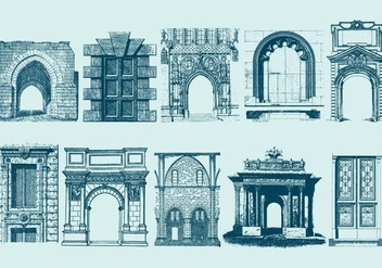 Blue Doors Portals And Archs - vector gratuit #403235