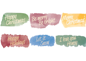 Vector Watercolor Christmas Messages - Free vector #404295