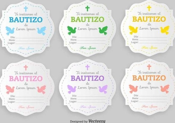Bautizo Vector Invitations Blank Template - vector gratuit #404945