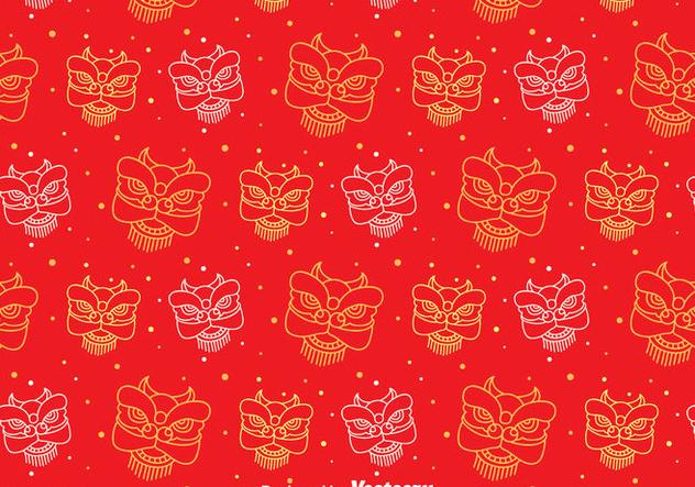 Red Lion Dance Seamless Pattern - vector gratuit(e) #405085
