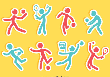 Sports Stickman Sticker Vector Set - Kostenloses vector #405135