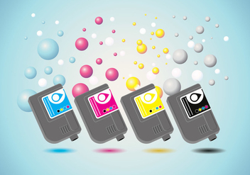 Ink Cartridge Vector with Ink Bubble Background - vector #405655 gratis