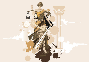 Lady of Justice Vector Painting - Free vector #405675