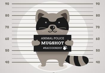Free Vector Cartoon Arrested Raccoon - Free vector #405745