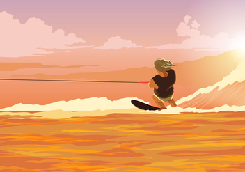 Water Skiing Action Vector - бесплатный vector #406285