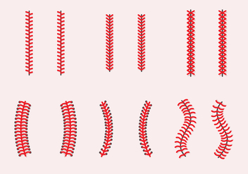 Baseball Laces Vector Sets - Free vector #406355