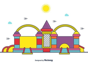 Cute Bounce House Vector - Free vector #406375