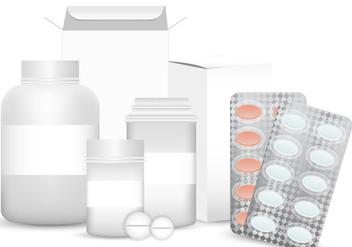 Vector Blank Set of Plastic Packaging Pill Box - бесплатный vector #406475