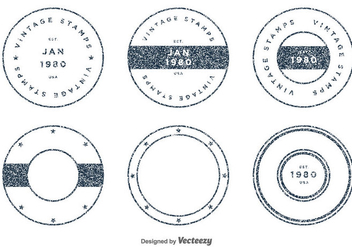 Set of Vintage Vector Stamps - Free vector #406585