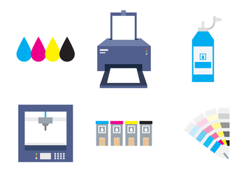 Set of Prints and Printer - vector #407255 gratis
