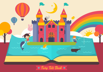 Free Fairy Tale Open Book Vector - бесплатный vector #407385