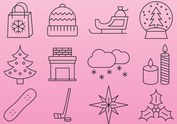 Pink Christmas line icons - Kostenloses vector #407475