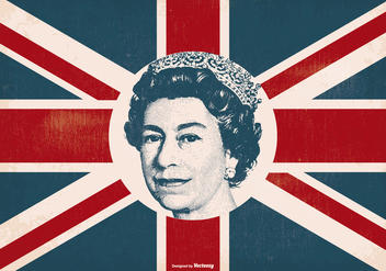 Queen Elizabeth on Britain Flag - бесплатный vector #407525