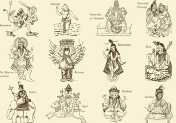 Hinduism Gods And Goddess - vector gratuit #407615