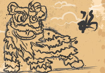 Lion Dance Ink Illustration - Free vector #407775