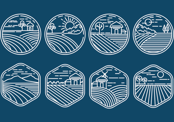 Rice Field Icons - vector #407925 gratis