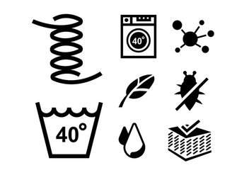Vector icons for cleaning bedding - vector gratuit #408745