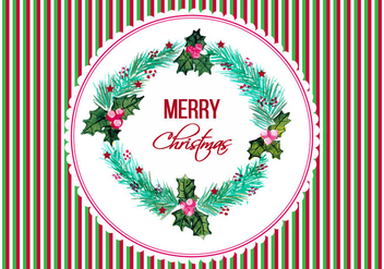 Free Vector Christmas Frame In Watercolor Style - Free vector #408765