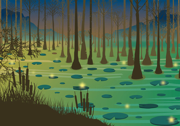 Swamp Night Free Vector - Kostenloses vector #408885