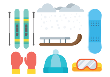 Sled and Toboggan Icons Vector - Free vector #408905