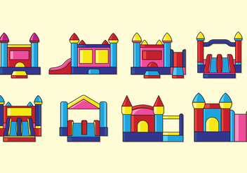 Set Of Bounce House Icons - Free vector #408925