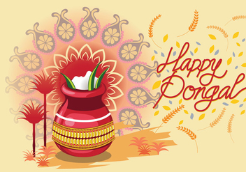 Vector Illustration of Happy Pongal Celebration Background - Free vector #409645
