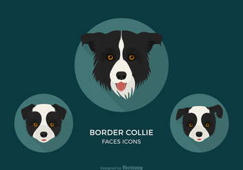 Free Border Collie Faces Vector Icons - Free vector #409875