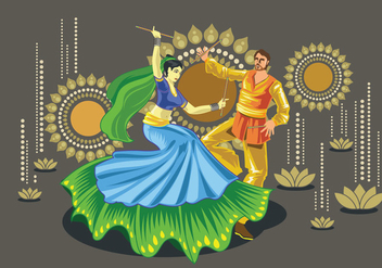 Vector Design of Couple Performing Garba Folk Dance of India - Kostenloses vector #410225