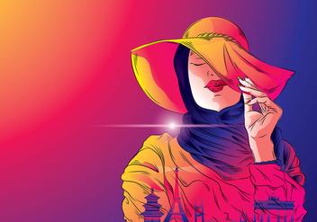 Mujer Hijab Traveler Vector - Free vector #410945