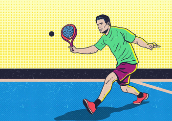 Man Playing Padel Tennis - Free vector #411025