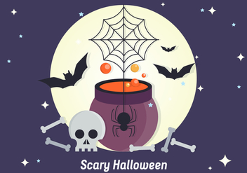Scary Halloween Vector Illustration - Free vector #411055