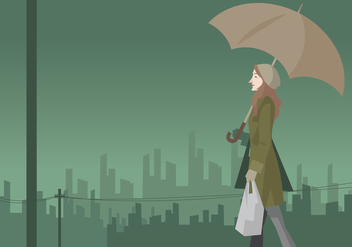 Girl Walking in the Rain With Umbrella Vector - vector gratuit #411155