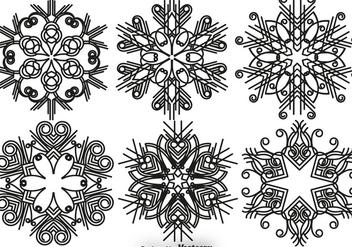 Elegant Snowflakes Vector Set - бесплатный vector #411225