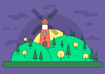 Windmill Hill Vector Illustration - бесплатный vector #411525
