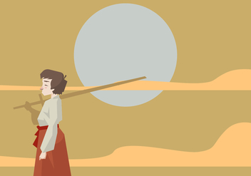 A Kid Standing With a Kendo Sword Vector - Free vector #411655