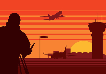Surveyor Airport Silhouette Free Vector - бесплатный vector #411995