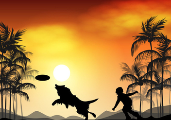 Border Collie Dog In Sunset - vector gratuit #412605