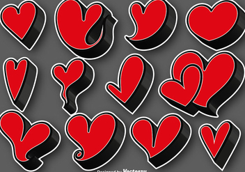 Collection Of 3D Hearts Stickers - Vector - бесплатный vector #412745