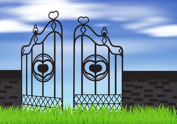 Open Gate With Sky - vector gratuit #412815