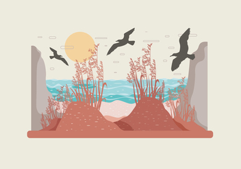Sea Oats Landscape Vector - Free vector #412865