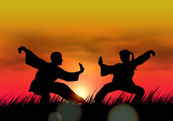 Couple Doing Wushu At Sunset - Free vector #413445