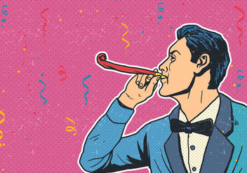 Blowing A Party Blower - Free vector #413555